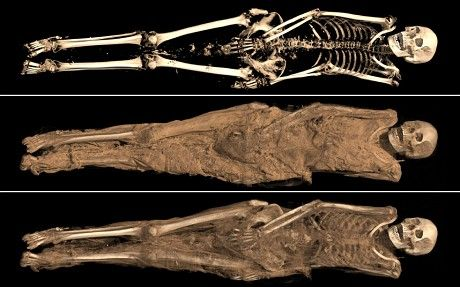 Researchers at the British Museum in London have discovered a Christian tattoo on the mummified remains of a Sudanese woman who lived about 1,300 years ago.  The well-preserved corpse was discovered during a recent archaeological excavation in northern Sudan along the banks of the Nile River. CT scans allowed researchers to peek under the woman's skin and look at her bones, while infrared imaging showed her tattoo, high on her inner thigh, more clearly.