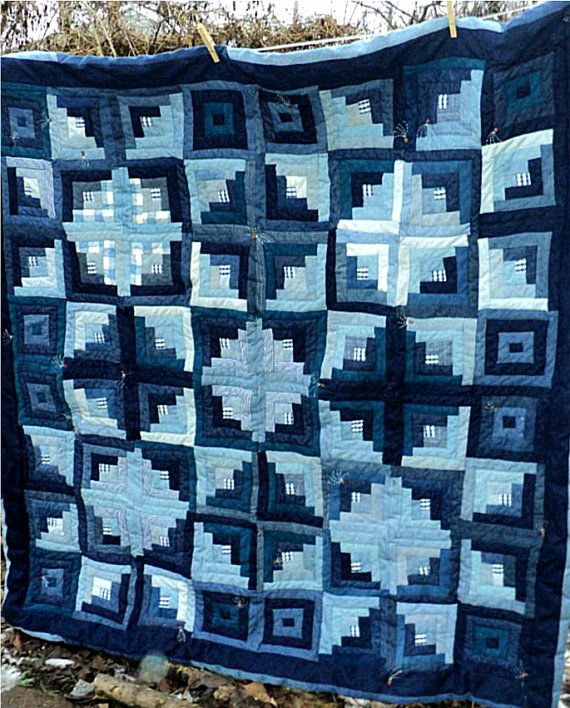 Denim Blue Jean Quilt Log Cabin Stars: