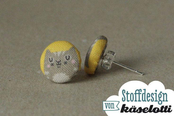 Mini Stoff-Ohrstecker Katze von käselotti auf DaWanda.com