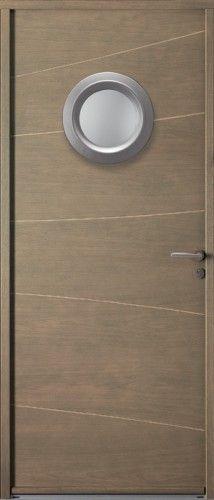 Porte bois, Porte entree, Bel'm, Contemporaine, Poignee rosage gris deco bel'm, Cache fiches couleur argent, Petit vitrage, Double vitrage sable, Cadre de vitrage rond en aluminium, Design, Malawi