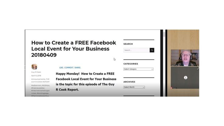How to Create a FREE Facebook Local Event for Your Business is the topic for this episode of The Guy R Cook Report.
