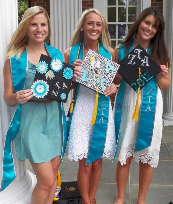 Zeta Grads With Their Decorated Graduation Caps