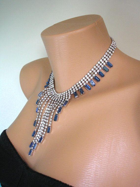 Sapphire Bridal Necklace Statement Necklace Great Gatsby Jewelry Rhinestone Bib Diamante Waterfall Vintage Collar Bridal Choker Deco by CrystalPearlJewelry