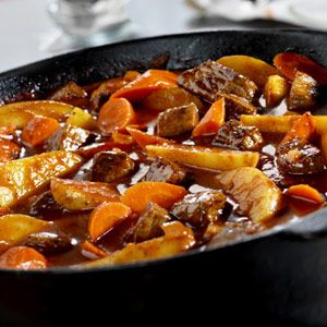 It takes just 15 minutes to put together the ingredients for this fabulous stew, that slowly simmers in a tomato juice-beef stock combination until the meat and vegetables practically melt in your mouth.