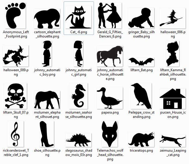 More than 600 free silhouette SVG Cliparts.... http://www.sherykdesigns-blog.com/2010/09/more-than-600-free-silhouette-svg.html#