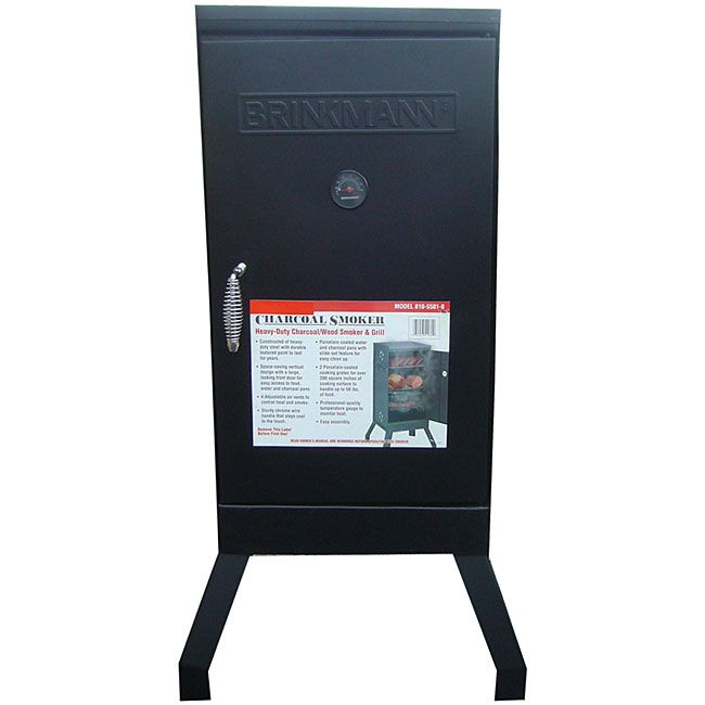 Bring a useful and interesting addition to your outdoor space with this black Brinkmann smoker grill set that includes water and charcoal bowls and porcelain-coated cooking grates. It can handle up to 50 pounds of food for a delicious BBQ experience.