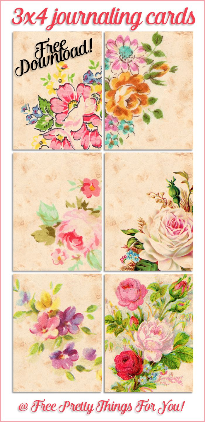 Free Journaling Cards: Pretty Vintage Floral Tags - Free Pretty Things For You