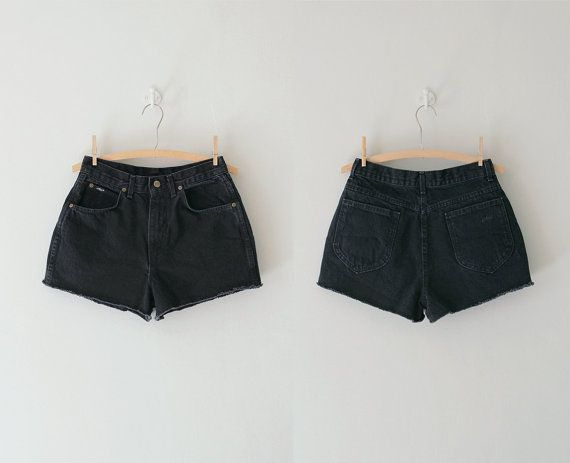 high waisted black shorts / high waisted denim by RellikVintageCo