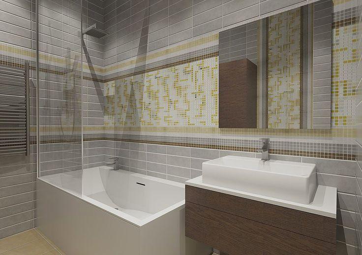 Интерьер ванной комнаты в современном стиле. Дизайн санузла. Стены отделаны прямоугольной серой плиткой и мозаикой.