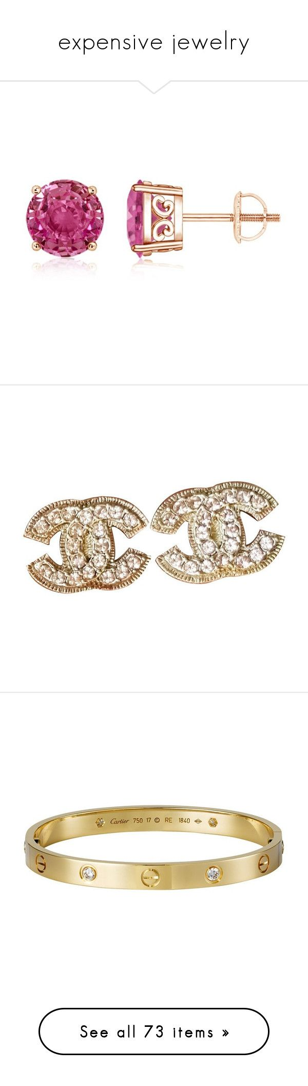 """""""expensive jewelry"""" by mrstomlinson974 on Polyvore featuring jewelry, earrings, vintage looking jewelry, vintage style jewellery, vintage style jewelry, pink sapphire jewelry, pink sapphire earrings, accessories, chanel and chanel earrings"""