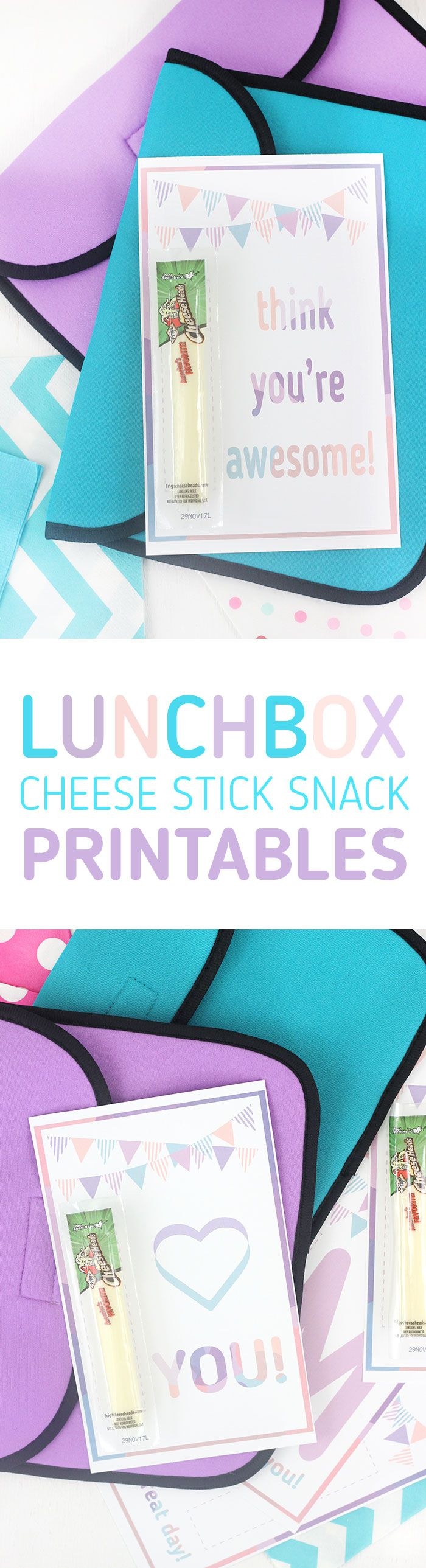 Lunchbox Printables for Frigo® Cheese Heads® cheese stick snacks. Super cute way to share love with your kiddos in their lunchbox. AD
