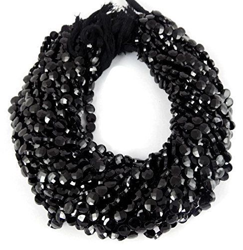 """5 Strands Black Spinel Coin Checker Cutting Faceted Rondelle Beads 5-6mm 13.5"""" #Faceted"""