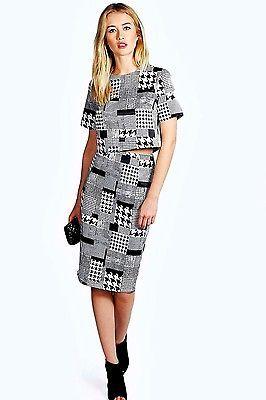 NWT Boohoo Houndstooth Black White Midi Skirt Crop Top Overlay Set Dress 6 $108  | eBay