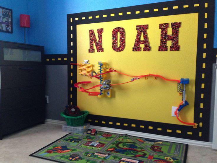 car themed room with hotwheels wall tracks