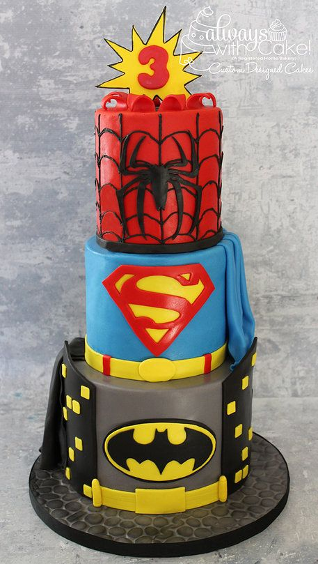 Superhero Cake (Batman, Superman, Spiderman)