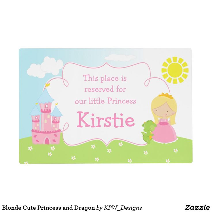 Blonde Cute Princess and Dragon Placemat