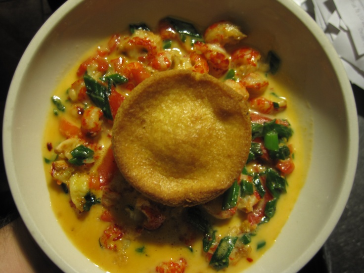 Sautéed crawfish in an anisette-mustard cream sauce with cornbread muffin. A San Chez staple. #tastytapas