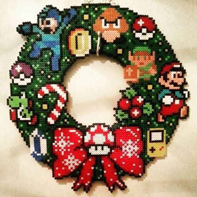 Nintendo Christmas wreath hama beads by pao_9008