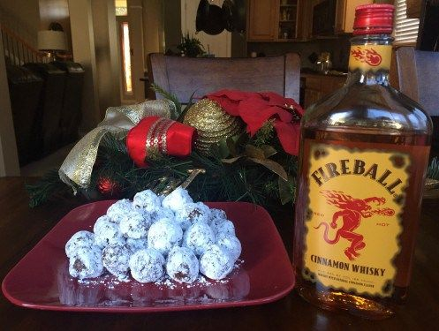Fireball Balls - no bake cookie made with Fireball Cinnamon Whiskey. Mysideof50.com