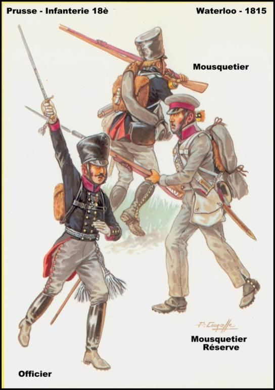 Prussian Infantry Waterloo 1815 Officer/Mousqueteer/reserve Mousqueteer