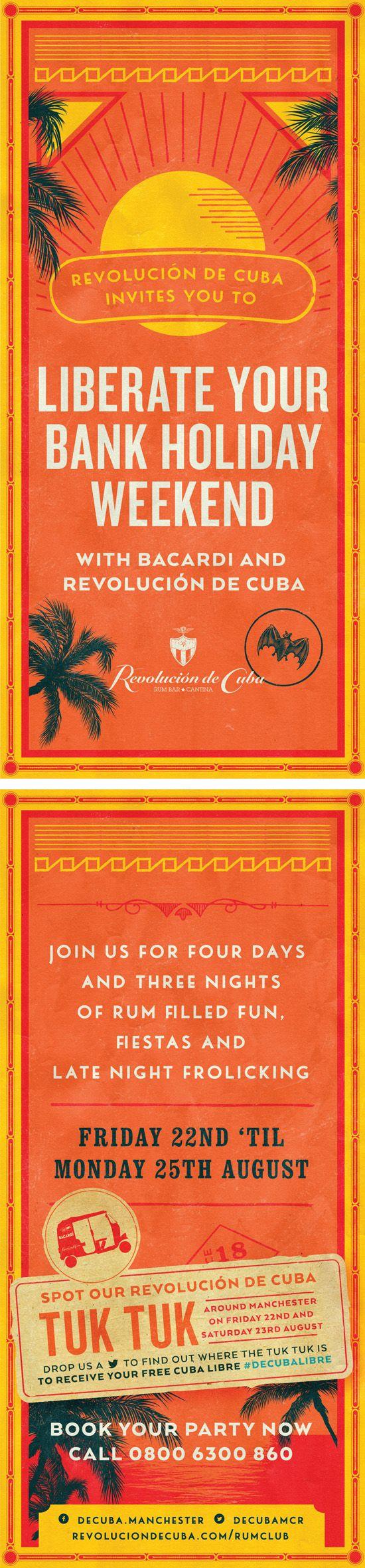 Cuban, Colourful Graphic Design Flyer for Revolucion de Cuba by www.diagramdesign.co.uk