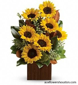 Rise and shine! Send her a sunrise with this golden #bouquet of bright-as-day #sunflowers. It's the perfect gift for the light of your life.
