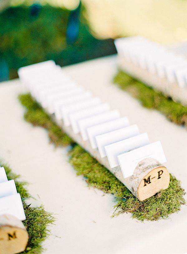 Moss and birch seating card display.