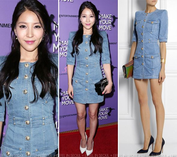 Boa Kwon wearing a blue denim dress from Balmain paired with white heels. #eiffelinseoul