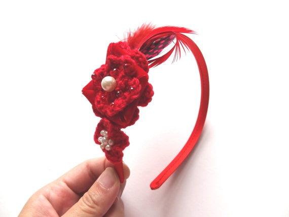 Red crocheted headband with feathers MadeByMellieTsang, $30.00  https://www.facebook.com/MadeByMellie