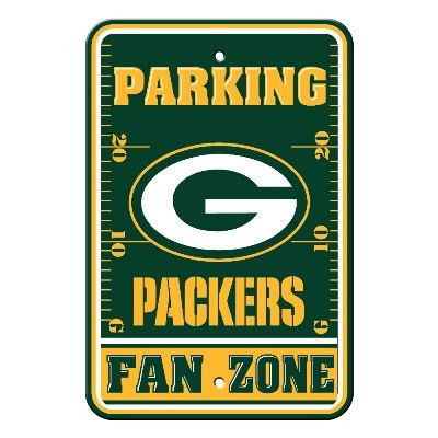 """Show your Packers team spirit proudly with this 12"""" X 18"""" Green Bay Packers Fan Zone Parking Sign. Each 12in x 18in Fan Zone sign is made of durable styrene. The NFL officially licensed parking sign i"""
