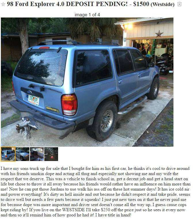 Dad sells sons SUV for smoking weed