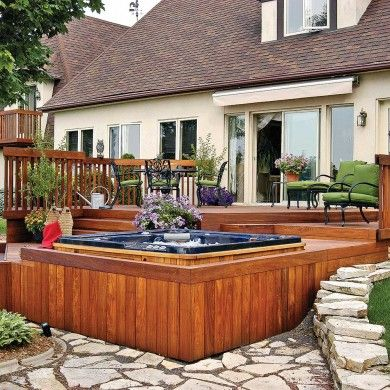 Terrasse and inspiration on pinterest for Patio exterieur en bois