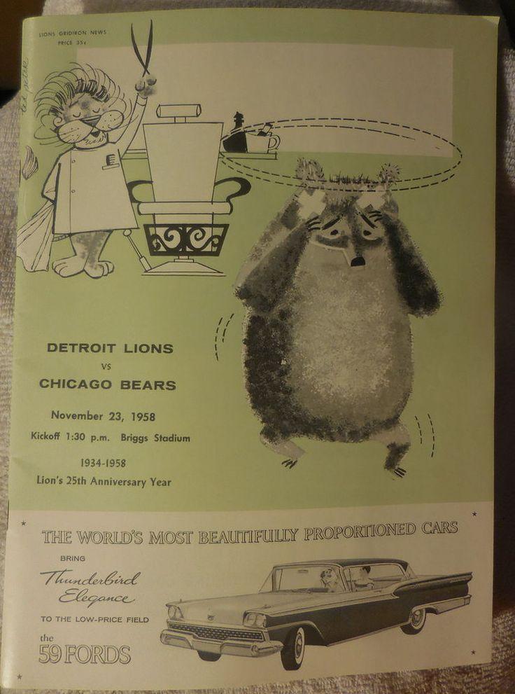 Vintage 1958 NFL Football Program Chicago Bears at Detroit Lions,excellent,mint #DetroitLions