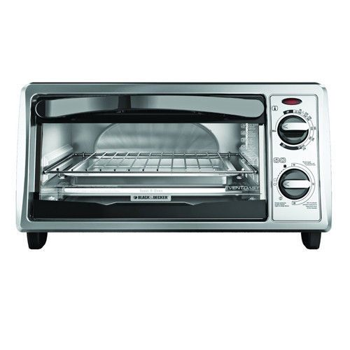 """This Black and Decker Toaster Oven features exclusive Even Toast Technology, which optimizes interior heat distribution to toast bread up to 30-percent more evenly than leading competitors. With it's curved interior, you can fit up to 4 slices of bread or a 9"""" pizza. Cooking versatility is right on your counter top with easy-to-use toast, broil, bake and keep warm functions and a 30-minute timer that features a stay-on function for longer bake times."""