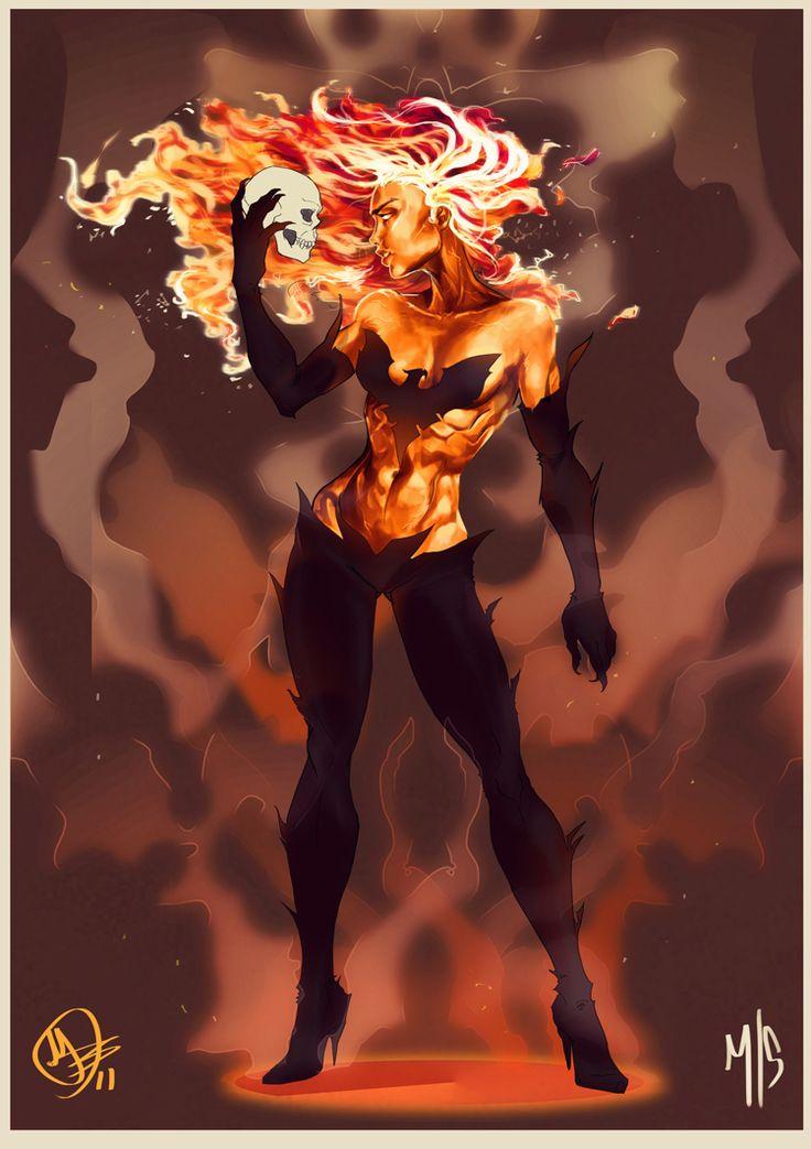 Dark Phoenix - line art: Matthew Skipworth, color: MaximoPark.deviantart.com