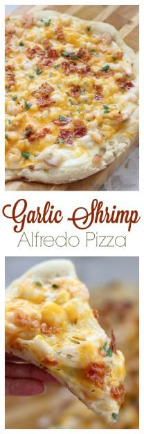 Garlic Shrimp Alfredo Pizza  is so good and such a nice change from the normal pizza night!