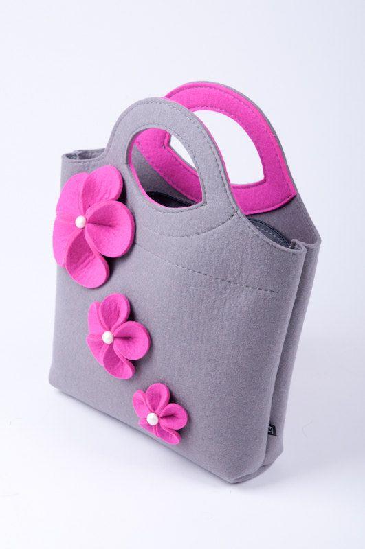 Light grey melange Felt Bag Bianca. Original by FELTTERRA on Etsy