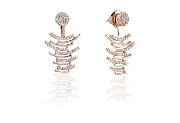 Ear jackets Fucino - 18k rose gold plated with white zirconia