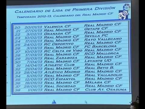 Sergio Ramos Calendario del Real Madrid para la Liga 2012/13