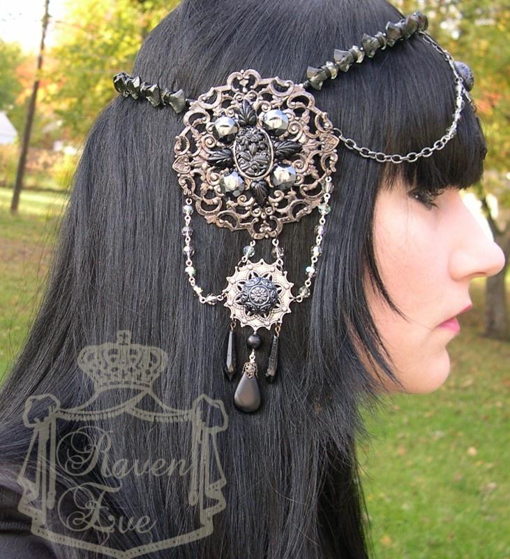 Custom Color Art Nouveau Mucha Headdress exclusive by Raven Eve Jewelry. $329.00, via Etsy.