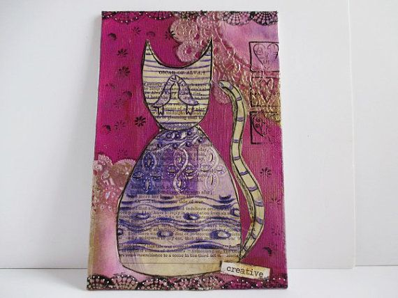 Original art for sale, Affordable original art, Original art work, Cat Art Work, Kitten Original Painting, Mixed Media, Zentangle Cat Art