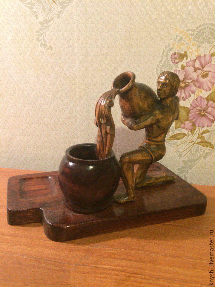 """Купить резная деревянная статуэтка . знак Зодиака """"Водолей"""" - резная скульптура, знак зодиака, водолей"""