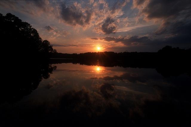 Lake Raleigh Woods at sunset.
