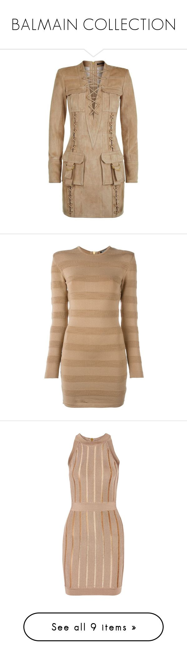 """""""BALMAIN COLLECTION"""" by purplerose27 ❤ liked on Polyvore featuring dresses, lace up front dress, suede dress, boho mini dress, mini dress, suede mini dress, beige, long sleeve dress, tight long sleeve dress and stripe dress"""