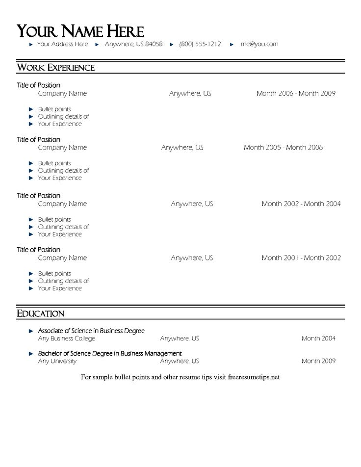 bullet point resume template