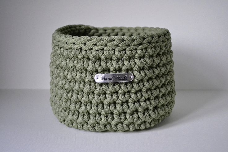 Olive green colour basket, rope crochet basket, storage basket, home decor by iKNITSTORE on Etsy