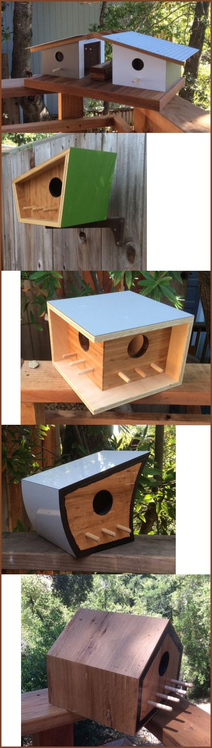 Birdhouse designed by Sourgrass. The Santa Cruz, California based company designs modern and mid-century inspired birdhouses out of re-purposed and locally bought materials. They design with function and appearance in mind.