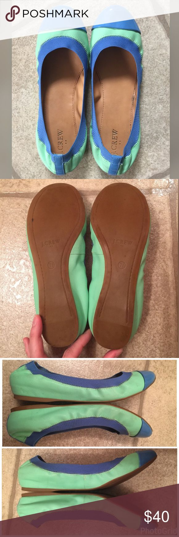 J Crew Factory Marley Ballet Flats Green Blue 7.5 J Crew Factory Marley Ballet Flats Cafe Mint Green & Sparkling Sea Blue 7.5, Only Worn A Couple Times, Only Place That Shows Wear Is On the Outside Inner Part Of One Shoe On The Leather Beside Seam As Shown In Picture 4. From Smoke & Pet Free Home J. Crew Shoes Flats & Loafers
