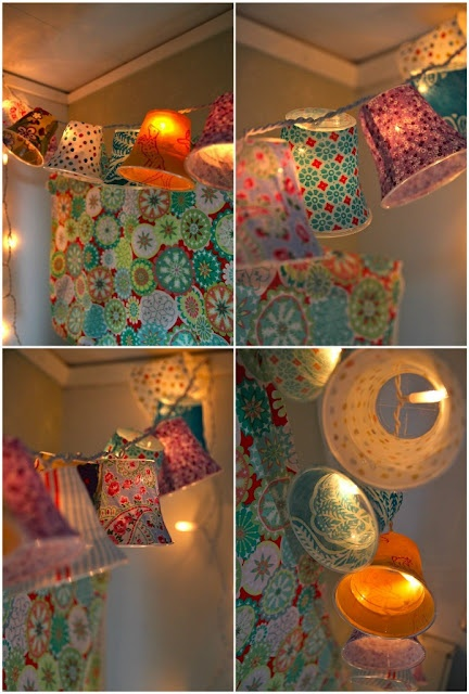 DIY Garden Lights?  Plastic solo cups covered with mod podge and fabric and hooked over a string of white Christmas lights.  These would be lovely on a screen porch!Lamps Shades, Lampshades, Plastic Cups, Fabrics Scrap, Christmas Lights, Girls Room, String Lights, Paper Cups, Parties Lights