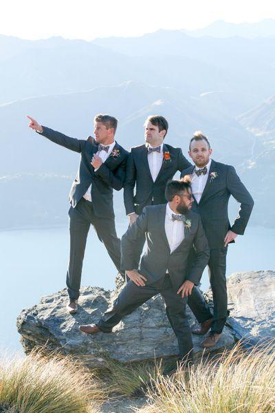 Groom + Groomsmen suited by Omen Suit Hire in Lithium Grey #duncanandlisa #omensuithire #queenstownweddings #walterspeak Photo courtesy of Felicity Jean Photography